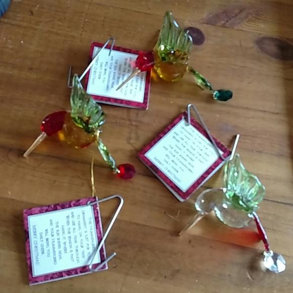 "None Other - 3 Handblown Glass Hummingbird Ornaments 3"" New!"